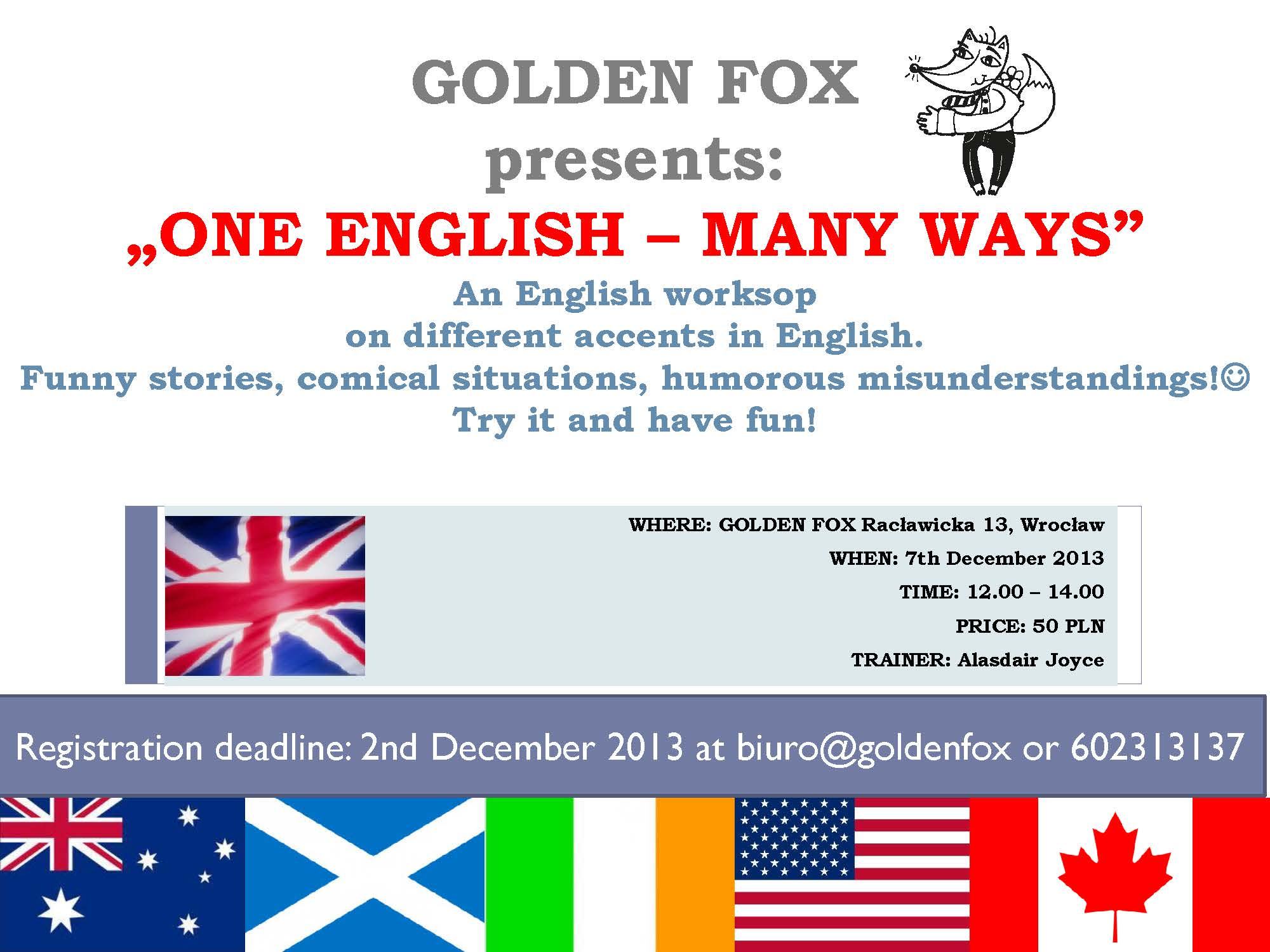 GOLDEN FOX one english many ways workshop accents in english