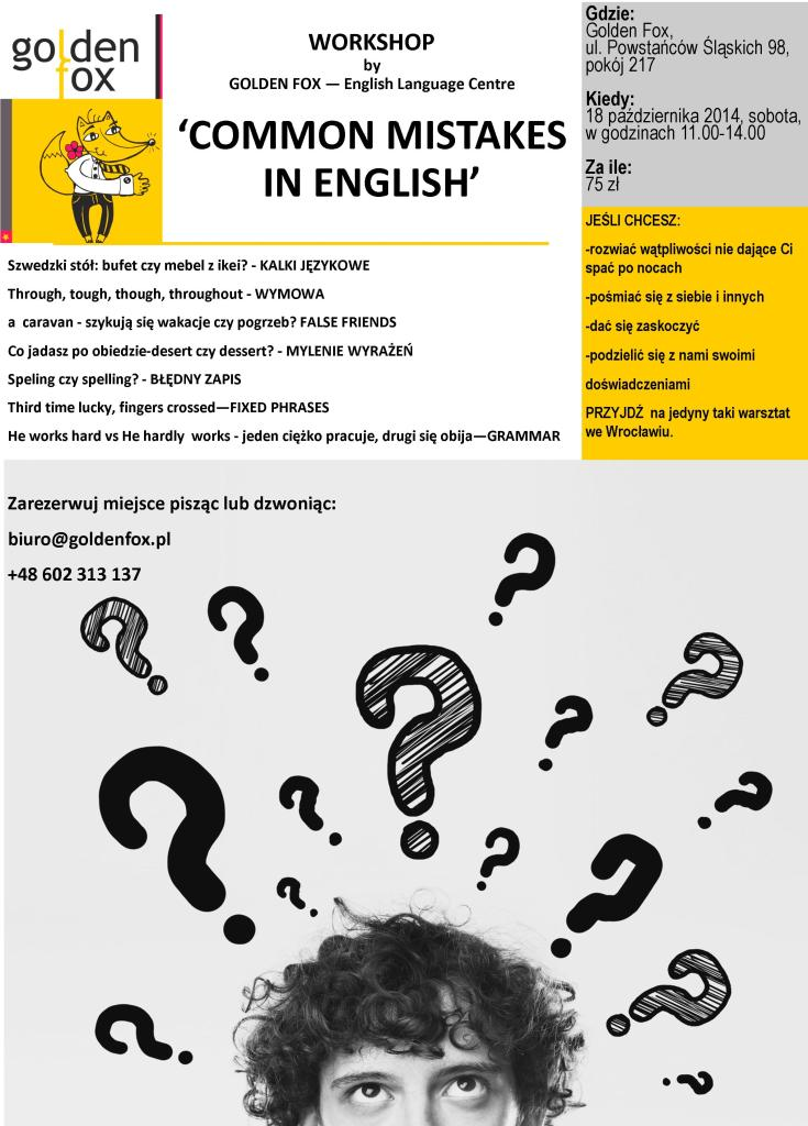 Common mistakes in English - WORKSHOP